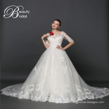 Balle robe Champagne musulman manches longues robe de mariée (XF1080)