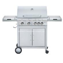 Barbecue au gaz à double couche en acier inoxydable à 4 brûleurs