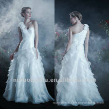Organza A Line Sweep Train One Shoulder Three-dimensional Flower Tiered Wedding Dress Bridal Gown