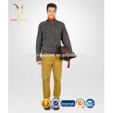 Men winter heavy cashmere sweater mixed yarn knit sweater