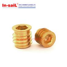 Ldin7965 M6 Messing Gewindeschneideinsatz für Kunststoffe