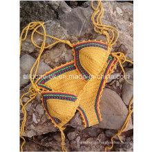 OEM Boho Halter Handmade Mão Crochet Bikini Swimsuit Swimwear