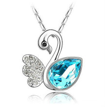 fashion jewellery elegant pendant swan with a big blue cz pendant