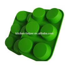 Hochwertige preiswerte grüne umweltfreundliche Muffin-Form-Kuchen-Backen-Form-Wanne FDA genehmigte Silikon-Mikrowellen-Ofen-Muffin-Wanne