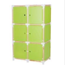 6 puertas 3 colores disponibles gabinetes de plástico de vestuario de bricolaje (zh0018)