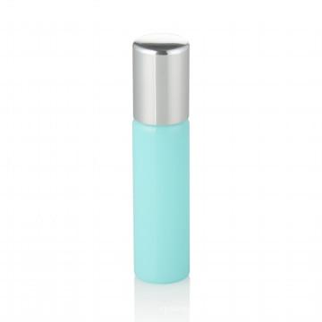Botella de cristal del aceite del cuidado personal de la belleza de la botella de cristal del aceite azul claro 8ml con la bola y el casquillo de aluminio del acero inoxidable