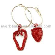 red CZ stone strawberry pendant spray-paint earring