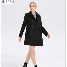 Мода Дамы Воротник Тонкий Шерсть Вискоза Женщины Пальто Европейский Стиль Двубортный Длинный Рукав Черный Пальто