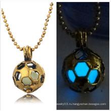 Футбольный золотой кулон Matel Glow In The Dark Дешевое ожерелье 2016
