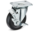 Die Black Rubber Side Brake Caster Wheels