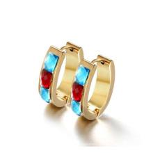Золотые круглые серьги,мода кристалл серьги ювелирные изделия