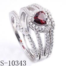 Latest Fashion Jewelry Garnet CZ Ring (S-10343)