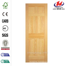 30 in. x 80 in. 6-Panel Solid Core Unfinished Clear Pine Single Prehung Interior Door