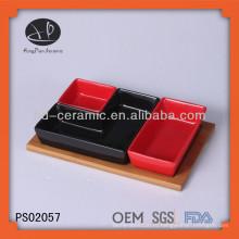 Набор для сервировки столовых приборов из керамики с бамбуковым поддоном для ресторанов, сервировка столовых приборов