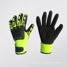 Black/Yellow PVC Cuff Velcro Mechanic Work Glove