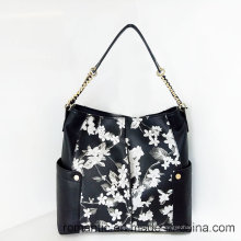 Promotional Ladies PU Handbags Women Flower Printing Leather Bag (LY060279)
