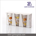 300ml V Shape Water Drinking Glass Tumblers with Printing Design