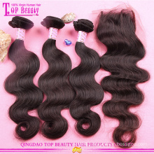 Wholesale high quality peruvian hair with closure 2016 hot sale 8a grade virgin hair bundles with lace closure