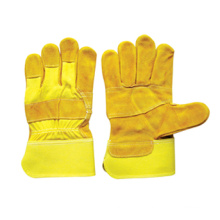 Gant de travail à paume en cuir fendu jaune en cuir fendu