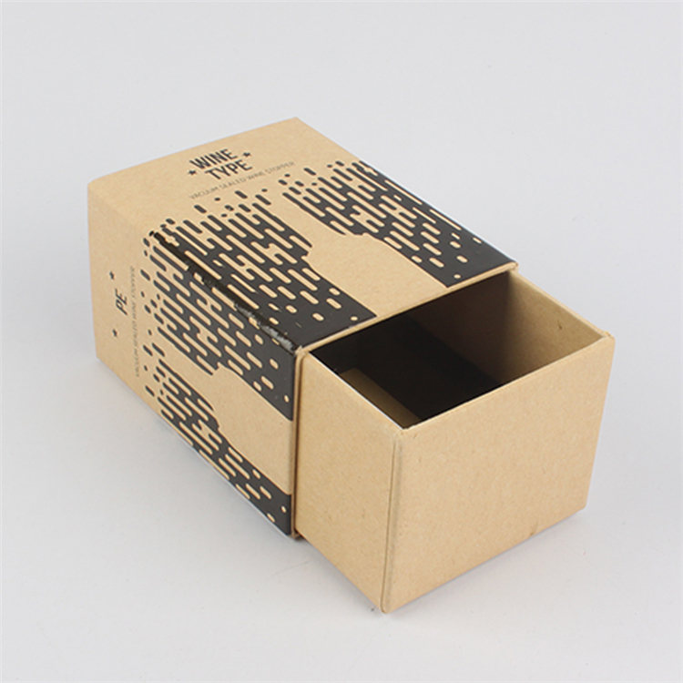 Ustom Wine Packaging Kraft Paper Drawer Box