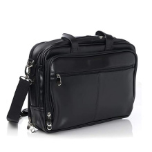 Aangepaste Top-Zip Black Laptop lederen Messenger Bag