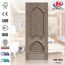 JHK-M02 Embossed Decorative Panel Design Straight Line HDF Natural Veneer Door Skin Factory