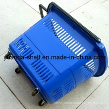 Plastic Supermarket Rolling Shopping Hand Basket with Wheels