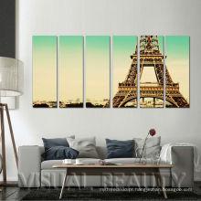 6 painéis Paris Eiffel Toalha Pinturas Pronto parede suspensa impressões em tela