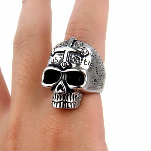 Male Jesus skull silver ring