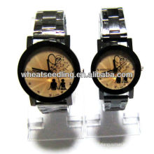 golden color watch with stainless steel band for couple JW-32