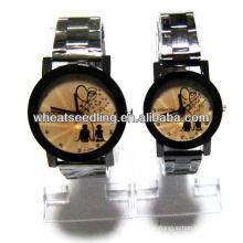 Relógio de cor dourada com banda de aço inoxidável para casal JW-32
