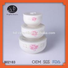 Cuvette en céramique, set de bol 3pcs, bol en céramique fraîche, entreposage en céramique, boîte à lunch en céramique pour 3 sets avec couvercle en plastique