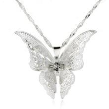 Moda pura prata Neckace novo estilo borboleta Pingente Jóias Colares