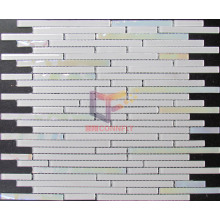 Iridescent Face White 4mm Strip Glass Mosaic (CFS599)