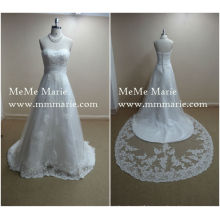 high quality bridal big train lace plus size wedding dress