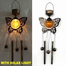 Décoration de jardin Boule de verre Papillon lumineux solaire Windchime