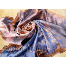 100% silk digital printing square scarf