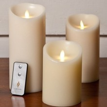 remote control ivory luminara flameless wax candles set