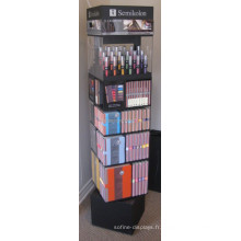 Produits de soins personnels Vente en gros Stand Black Wood Base Floorstanding Acrylic Spinning Lipstick Tower