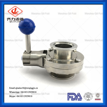 sanitary stainless steel threaded clamp butterfly valve