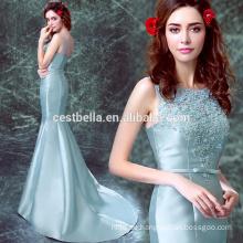 2016 Sexy zurück offenes Weihnachtsfestkleid MermaidTulle blaues Abendkleid mit Zug