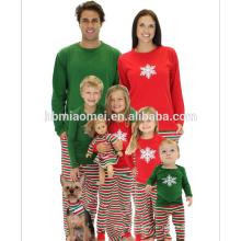 Pijamas de la Navidad 2016 de la venta caliente de los niños con la tapa roja y verde con los pantalones rayados