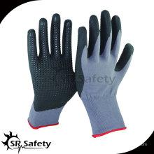 15-дюймовые трикотажные нейлоновые и спандек-покрытые черные высокотехнологичные пенные нитриловые перчатки, черные нитриловые точки на ладони
