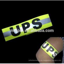 Correa de brazo de seguridad fluorescente reflectante de seguridad al por mayor elástico con muestra gratis