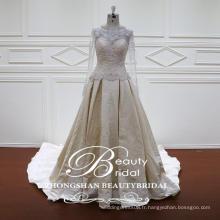Travail de qualité Pretty A-Line Forme Long Sleeves Applique Lace Sequins Robe de mariée 2017