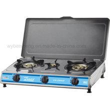 Cuisinière à gaz en acier inoxydable, trois brûleurs avec couvercle