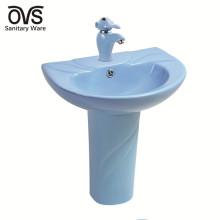 Lavabo de pedestal para baño de cerámica para niños