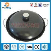 não-fumantes antiaderente ferro fundido wok chinês 10 polegadas