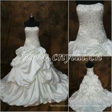 JJ2883 rebordeó el vestido de bola sin mangas moldeado rebordeando el vestido de boda largo del bordado del tren 2013