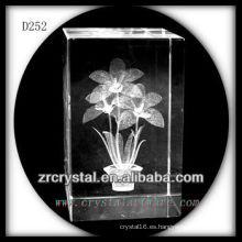 K9 3D girasol láser dentro del rectángulo de cristal